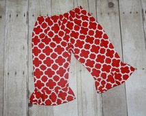Navy, Red, or Teal Quatrefoil Ruffle Pants or Shorts/Capris Baby, Toddler, Girls, 3m, 6m, 9m, 12m, 18m, 24m/2t, 3t, 4t, 5, 6, 7, 8, 10, 12