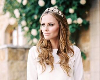 Gold Headband,Crystal Floral Headpiece- KIARA,Swarovski Bridal Tiara,Gold Bridal Headband,Rhinestone Headband, Wedding Tiara,Bridal Headband