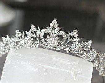 Bridal Tiara Crystal Heart Tiara - DIANA, Swarovski Bridal Tiara, Crystal Wedding Crown, Rhinestone Tiara, Wedding Tiara, Diamante Crown
