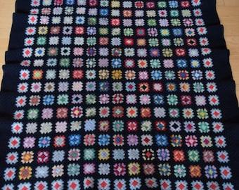 SALE! vintage hand crocheted afghan blanket granny squares