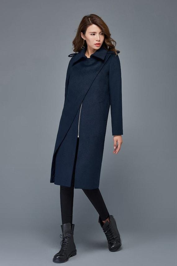 Winter coats for women navy blue wool coat mid length coat