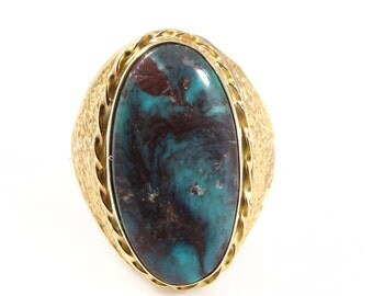 14k Yellow Gold Large Natural Turquoise Ring - Size 7.5 - Weight 6.7 Grams