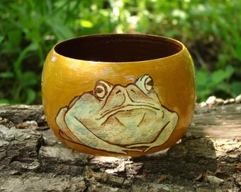 "Wood Bracelet - Wood Bangle ""Witchy Toads"" / Free Shipping"