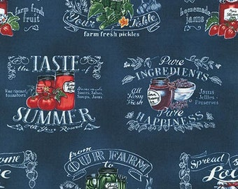 Down On The Farm Canning Labels 15771-9 Navy by Wellington Studios for Robert Kaufman