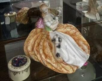 Antique vintage figurine woman dog home decor
