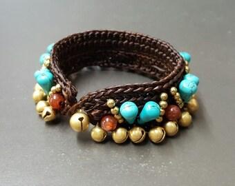 Elegant  Charm CrochetTurquoise Brass Bracelet