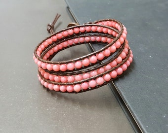 Handmade Pink Coral Brown  Leather Triple Wrap Bracelet/Anklet