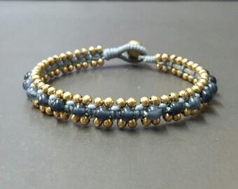 Gray Wax Cord  Smoke  Bracelet