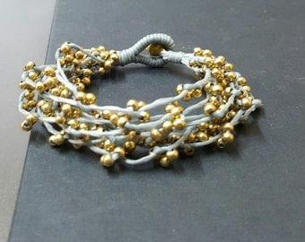 Handmade Gray Brass Bunch Bracelet