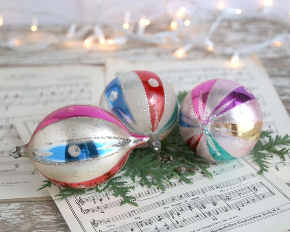 Vintage Large or Jumbo Polish Glass Ornaments, Set of 3 Made in Poland Ornaments, Striped Glass Balls, 2 Round and 1 Teardrop