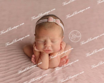 Cute WHITE RHINESTONE BOW Headband - Photo Prop Baby Girl Headbands . Baby Headband . Flower Headband . Baby Bow Headband . Newborn Headband