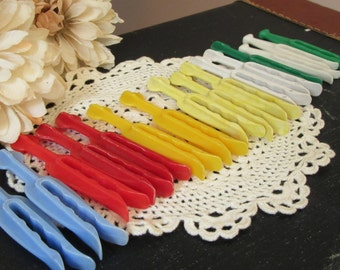 Vintage Plastic Clothespins  Pinch Style Lot of 16  Multi Color  Mid Century Laundry Room Accessories Supplies