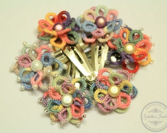 SALE! Tatted 3-D flower hairpin in pastel colors