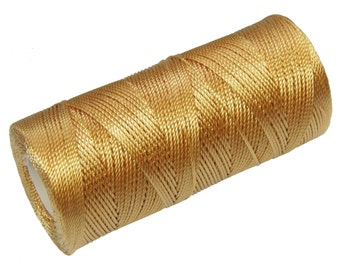 Crochet Thread - 15 Meters/16 Yards Nylon Cord - Not Waxed - Macrame Thread - BeadWeaving Thread 0.8mm - Golden Brown