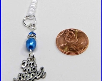 Universal 3.5mm iPhone iPad Tablet Swarovski Elements Beaded Dust Plug Earphone Jack Pewter Charm Im No Angel Humor