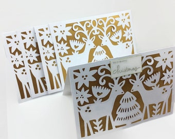 Christmas Card Pack, Reindeer Cards, Simple Handmade Greeting, Holiday Card Set, Cards For Friends Family, Paper cut cards