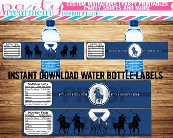 INSTANT DOWNLOAD Polo Baby Shower water bottle label party decoration, Design 153