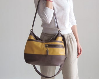 Leather hobo handbag  - Soft leather purse - Crossbody hobo bag -  SOLIN - SALE