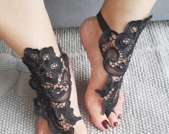 Free ship-LUX Wedding Black Lace Jewelry Barefoot Sandals,Bridesmaids,Wedding Shoes