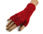 Red Fingerless Gloves - Ladies Red Gloves - Womens Gifts -  Crochet Wristwarmers -  Gifts for Mums - Gardeners Gifts - Outdoor Gifts