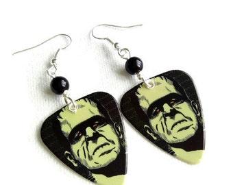 Frankenstein's Monster Earrings, Frankenstein Earrings,  Guitar Pick Earrings, Plectrum Earrings, Horror, Goth