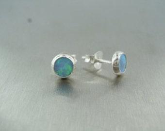 Lab Created Opal Stud Earrings (4.5mm)