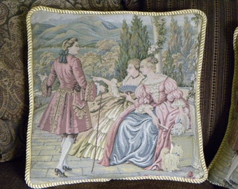 Baroque Aubusson Pillows, Italian Antique Style Tapestry Pillow, Paris Apartment, Marie Antoinette, 1600's Rococo Decor