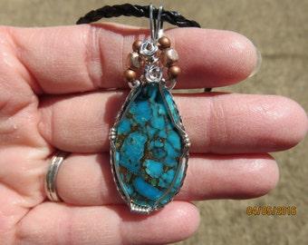 Kingman Turquoise in Bronze Matrix Designer Cabochon Wire Wrapped Pendant.