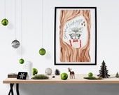 Good Tidings // Christmas Tree Raccoon Bowtie Animal Woodland Pinecone Ornament Original Art Print Calligraphy Home Decor // 5 x 7 // 8 x 10