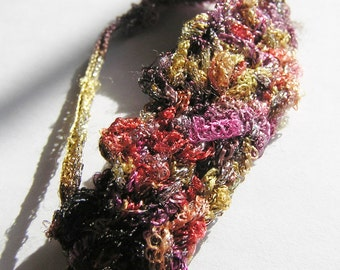 Shabby Chic Crocheted Gold, Pink, and Marroon Bracelet