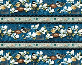 Feather Your Nest Wide Stripe Fabric with Chickadees Dogwood Yardage