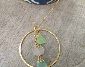 Hawaiian Sea Glass Waterfall Necklace