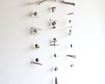 Driftwood Hanging with Felt Pebbles / Rocks / Stones -- Rustic Natural Driftwood Mobile -- Interior Design Mobiles -- Ready to ship