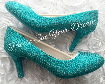 Custom Crystal Rhinestone Bridal Heels - Custom Heels - Prom/Bridesmaid/Wedding Heel Shoes - Swarovski Heels