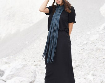 NEW  Black Exclusive Knit Soft Maxi Skirt /  Extravagant Long  Skirt / Fall fitted skirt by Aakasha A09515