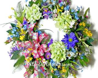 Summer Grapevine Wreath, Green Hydrangea Wreath, Summer Floral Wreath, Wildflower Wreath, Front Door Wreath, Pink Wreath, Pink Green Wreath