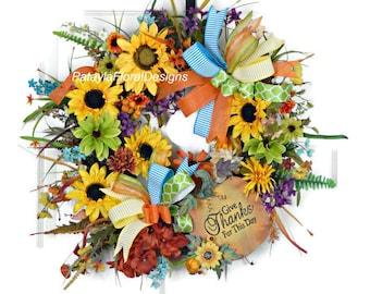 Pumpkin Sunflower Wreath, Fall Grapevine Wreath, Give Thanks Wreath, Thanksgiving Wreath, Fall Wreaths, Thanksgiving Wreaths, Blue Orange