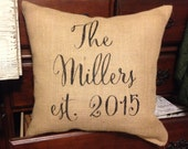 Burlap pillow, family name pillow, personalized pillow, Mother's Day gift