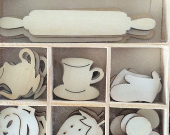 Wood Die Cuts - Laser Cut- Fifties Kitchen - Unfinished Embellishments - Tea Cups - Rolling Pin - Strawberries - Wooden Box - 35 pcs