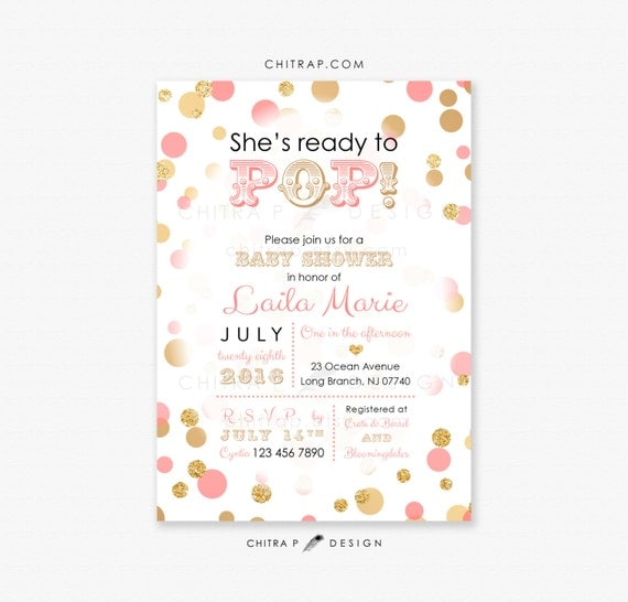 ready to pop baby shower invitation printed coral pink gold, Baby shower invitations