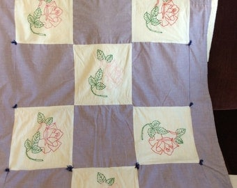 Vintage Embroidery Crib Quilt Floral Design Just Laundered