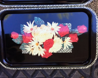 Vintage Serving Trays Floral Rose and Daisy Lot of 3