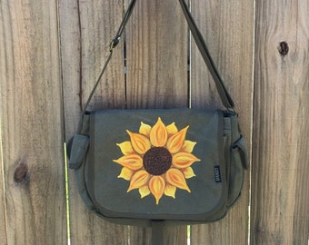 Messenger Bag, Sunflower Tote, Women's Crossbody, Everest Cotton Canvas Olive Green, Hand Painted