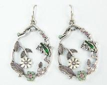 Flower Earrings - Leaf and Frog Dangle Earrings, Antique Silver Teardrop Garden Nature Jewelry |EB2-16