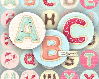 Cookies Alphabet - 1.5 inch circles - digital collage sheet - pocket mirrors, tags, scrapbooking, cupcake toppers