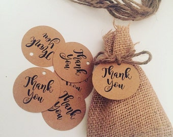 20 x Round Kraft Paper Thank You Tags