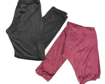 Suede Leggings Plus Sizes Black or Burgundy Winter Tights Stretch Pants