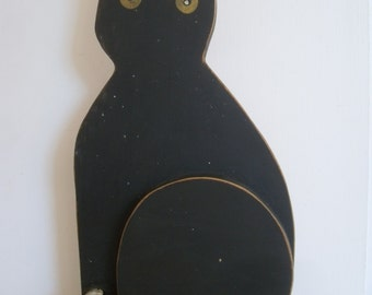 Vintage Folk Art Wooden  Black Cat