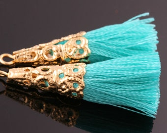 2PCS-34mmX7mm Gold plated Brass Color Cotton tassels with Filigree Cap jewelry tassels Deco-Green(L176G-G)