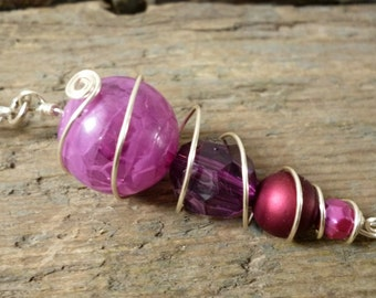Purple bead pendant, purple, purple necklace, pendant, pendant necklace, beaded necklace, beaded pendant, gift for her, purple pendant
